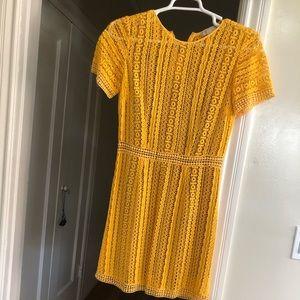 Michael Kors bright yellow crochet dress